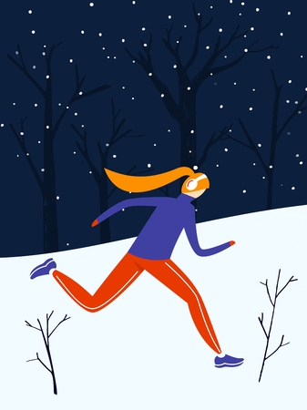 Fast running girl at the evening in winter park. Winter jogging, outdoor activity. Flat vector illustration