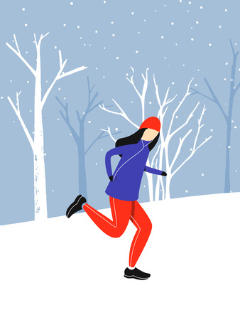 Girl jogging outside at snow weather. Winter running flat illustration