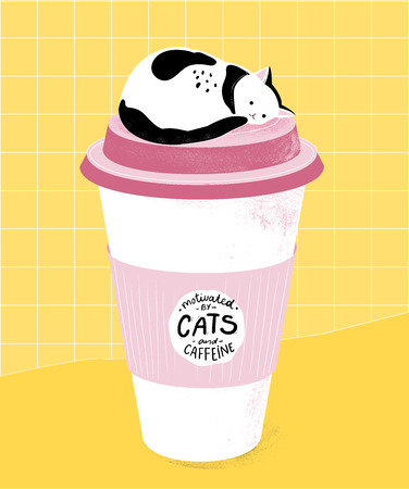 Motivated by cats and caffein. Funny quote for office posters, t-shirts and prints. Sleeping cat on top of tall paper coffee cup. Modern graphic art, pink, yellow and black colors