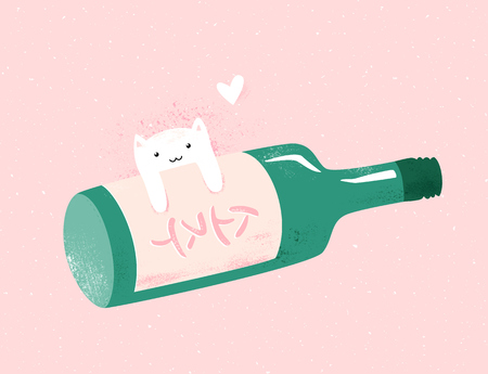 Funny illustration with bottle of soju and cute cat character with heart. Text on label is Korean word soju - traditional Korean alcohol beverage