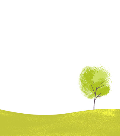 Single tree on green hill. Simple landsape scene, nature background with place for text Ilustração