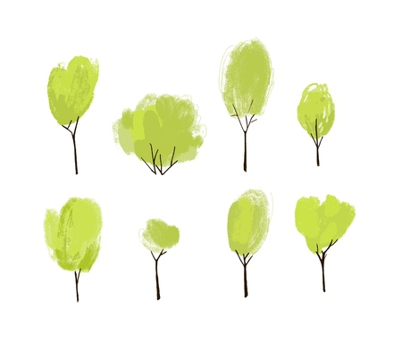 Hand painted green trees set. Collection of hand drawn trees and bushes with textured top