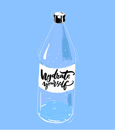 Hydrate yourself print with hand drawn bottle of water and brush calligraphy slogan. Motivational gym poster, healthy lifestyle.  イラスト・ベクター素材