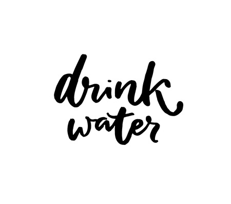 Drink water brush calligraphy inscription. Handwritten slogan, healthy lifestyle. Black quote isolated on white background.