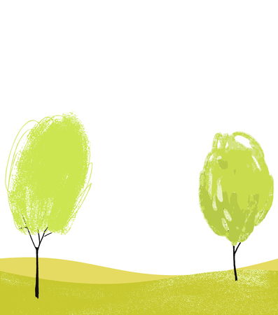 White background with two hand drawn trees. Eco backdrop for banners, flyers and posters