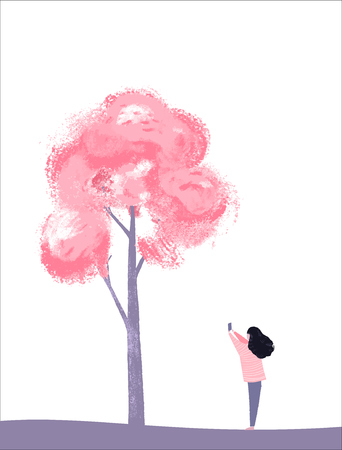 Cherry blossom tree and girl takes a picture of pink flowers. Spring season illustration. Blooming sakura festival Illustration