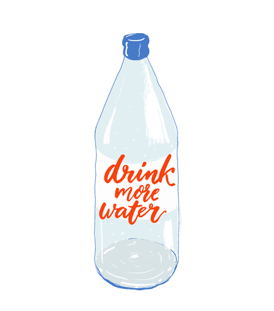 Drink more water - lettering on bottle. Motivational quote about importance of staying hydrated Ilustração