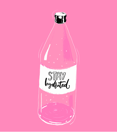 Stay hydrated hand lettering inscription on bottle of water, pink background. Fitness motivational poster, t-shirt print. Healthy lifestyle quote