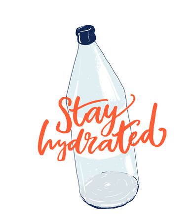Stay hydrated hand lettering inscription on bottle of water. Fitness motivational poster, t-shirt print. Healthy lifestyle quote 矢量图像