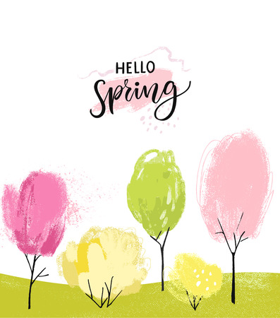 Hello spring with brush lettering. Illustration of various colors trees and bushes. Pink cherry blossom, green and yellow plants