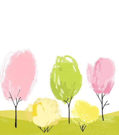 White background with hand drawn spring trees. Artistic painted plants, flowers and bushes Ilustrace