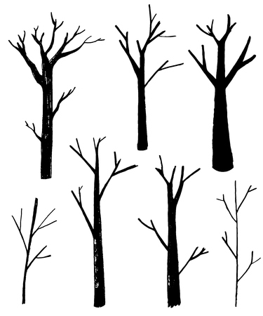 Naked trees silhouettes set. Hand drawn isolated illustrations. Nature drawing. Banque d'images - 119628219