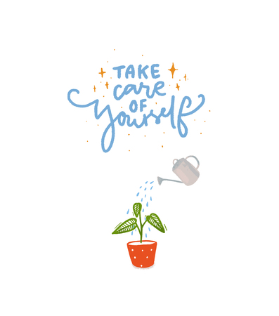 Take care of yourself. Hand lettering inscription with illustration of plant watering with water can Ilustração
