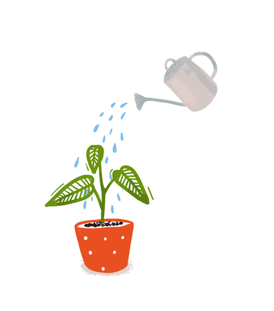 Watering of home plant with green leaves in orangle pot. Hand drawn illustration of home gardening, symbol of care and growth Ilustração
