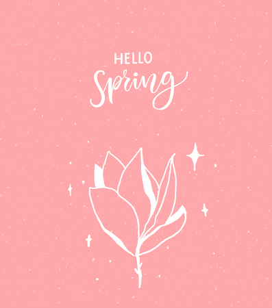 Hello spring calligraphy text and hand drawn magnolia flower.