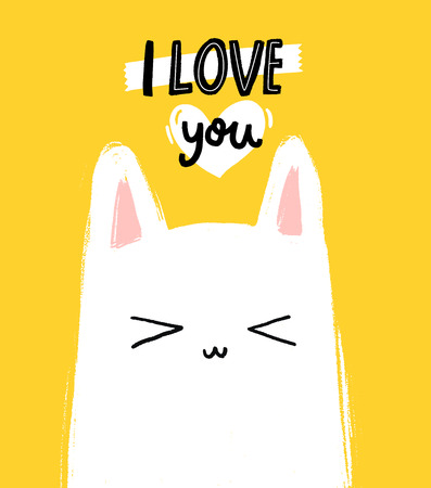 I love you - romantic card with kitty character on yellow background. Modern hand lettering and illustration. Çizim