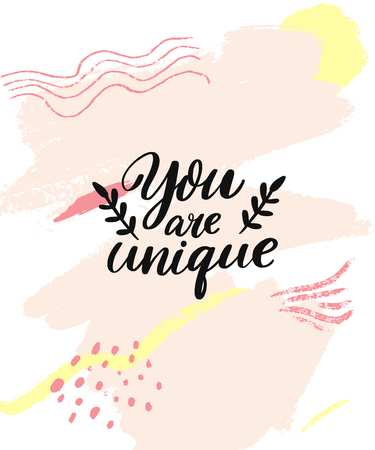 You are unique. Inspirational quote on pink abstract texture. Modern brush caligraphy inscription for greeting cards and apparel
