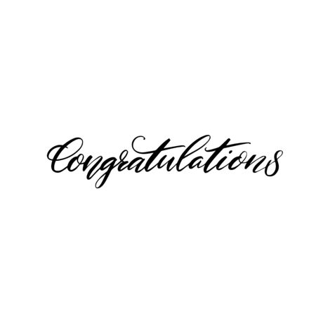 Congratulations banner. Modern calligraphy word for greeting card. Black text isolated on white background. 向量圖像