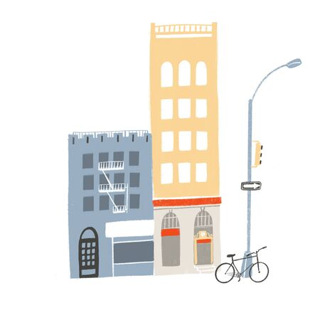 Two buildings, tall and medium. Street scene with store fronts, cafe, bicycle and traffic lights stand illustration. Local neighborhood art