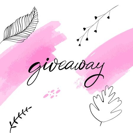 Giveaway banner with pink paint strokes and stains. Black ink modern calligraphy and branches. Hand drawn illustration for social media. Stok Fotoğraf
