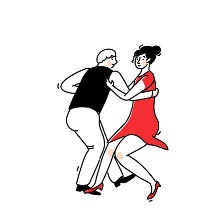 Lindy hop dance illustration. Couple moving in swingout position. Funny retro social party sign. Young dancing girl in red dress and man in vest and pants. Vector outline pair isolated on white background