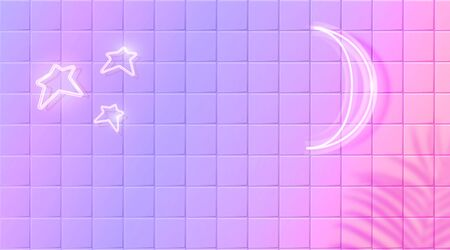 White glowing moon and stars, neon effect on purple ceramic tiles wall. Trendy background with tropic leaves shadow overlay. Vector horizontal banner design  イラスト・ベクター素材