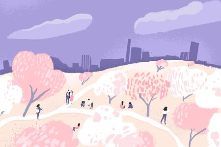 Cherry blossom trees in park. Group of tiny people walking and watching blooming sakura. Japanese Hanami festival, spring time in city. Vector cartoon outdoor illustration. 스톡 콘텐츠 - 136936298