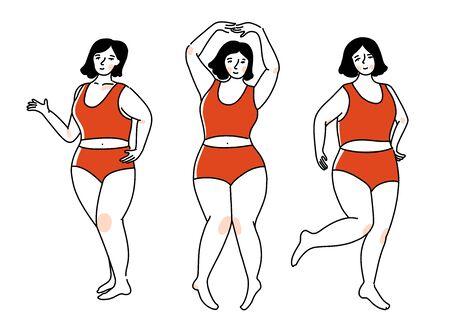 Femme de taille plus en sous-vêtements rouges dans différentes poses actives. Fille heureuse dansant, concept positif de corps. Illustration de contour de vecteur. Personnage féminin isolé sur fond blanc.
