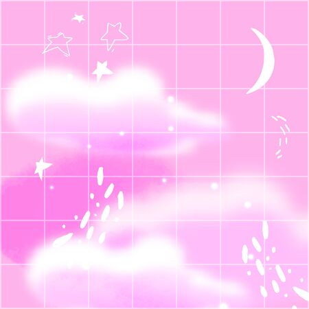 Pink night sky with cresent, fluffy clouds and hand darwn stars. Dream aesthetics illustration, retro fantasy background with square grid