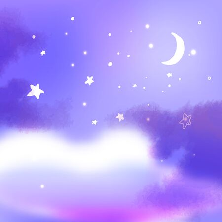 Purple night sky with moon, fluffy clouds and lots of stars. Dream illustration, peaceful fantasy background Ilustrace