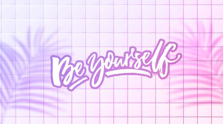Be yourself quote. Inspiring saying, modern calligraphy script on pink ceramics wall background with tropic leaves shadow overlay. Horizontal banner for social media, t-shirt design, stationery. 일러스트