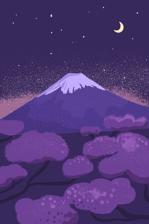 Fuji mountain at night with starry sky and moon. Japanese scenery vector illustration with cherry blossom trees at sunrise time.  イラスト・ベクター素材