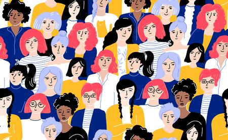 Multitud de mujeres de patrones sin fisuras. Diferentes hembras jóvenes en ropa amarilla y azul con cabello de colores brillantes. Fondo enlosable para el Día Internacional de la Mujer, concepto de empoderamiento y hermandad.