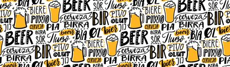 Beer text pattern. Word beer in different languages. Italian birra, spanish cerveza, macedonian pivo, german bier. Hand lettering seamless texture for pubs, menu and placemats. Archivio Fotografico - 140523425