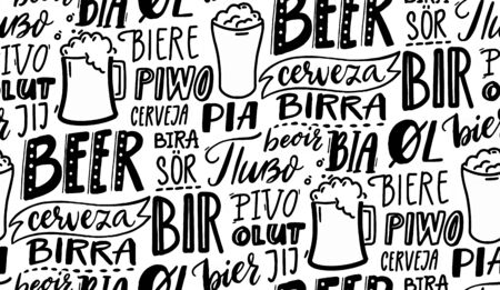 Beer in different languages. Wallpaper design. Black and white seamless vector pattern for pubs, cafe and brewery. Hand drawn doodle texture with many european languages.