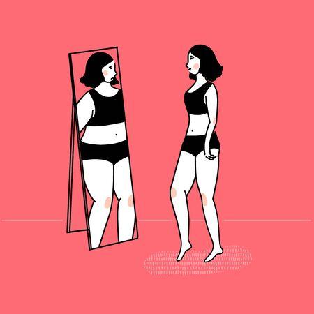 Slim girl looking at fat reflection in mirror. Eating disorder concept, body dysmorphia. Vector outline illustration on pink background. Ilustración de vector