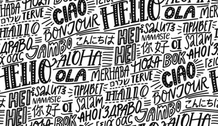 Hello in different languages. Typography seamless pattern. French bonjur, spanish hola, japanese konnichiwa, chinese nihao, indian namaste and other greetings. Handwritten wallpaper for hotels or school