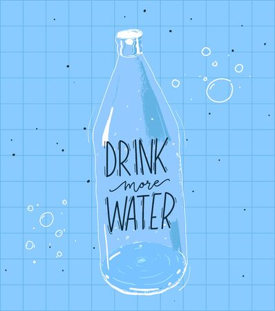 Drink more water quote and illustration of bottle. Vector poster with blue squared background.
