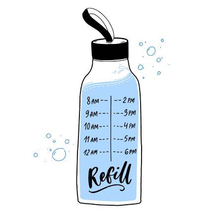Calcomanía de botella de agua reutilizable con el momento de la ingesta regular de agua. Frasco para beber marcado cada hora. Diseño de calcomanías motivacionales Ilustración de vector