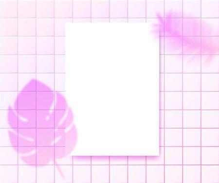 Pink plants shadow overlay on a4 vertical paper sheet. Presentation layout for quotes, logo, branding design. Trendy shaded mock up background. Ilustração