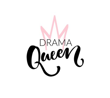 Drama queen t shirt print design. Vector brush lettering and hand drawn crown. Black and pink colors on white background Ilustración de vector