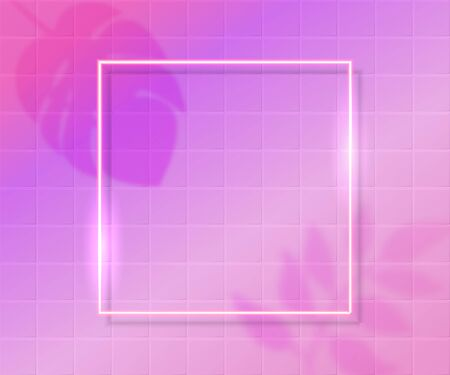 Pink tiles background with shiny square frame with tropic leaves shadow overlay. Trendy backdrop for beauty, sale banners, social networks. Modern vector texture Foto de archivo - 139353500