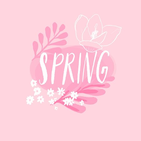 Spring handwritten word decorated with pastel pink flowers and branches, line sketch of crocus and chamomile. Cute feminine banner for spring offers, sale and socail media.