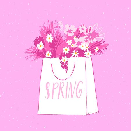 Paper shopping bag full of flowers. Bunch of camomiles in shopper with handwritten word spring. Pink vector card for spring sales and offers, flower delivery.