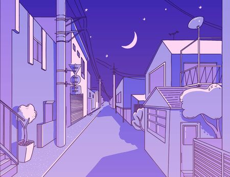 Night asian street in residental area. Peaceful and calm alleyway. Japanese aesthetics illustration, vector landscape for t shirt print. Otaku and hipster fashion design. Violet sky with stars, wires and crescent