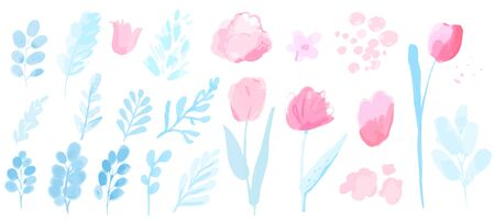 Vector watercolor plants, branches with leaves and flowers, tulips and loose peonies. Pastel pink and blue set of spring design elements