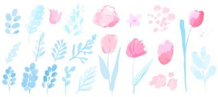 Plantes aquarelles vectorielles, branches avec feuilles et fleurs, tulipes et pivoines en vrac. Ensemble rose et bleu pastel d'éléments de conception de printemps