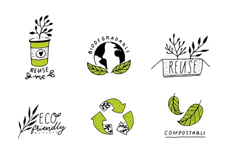 Biodegradable and compostable sign. Reduce, reuse and recycle concept badges for eco friendly packaging. Set of green ecological emblems, line illustration. Craft hand drawn style.