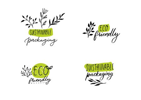Sustainable packaging labels for eco friendly products. Hand drawing signs with plants branches and leaf. Handwritten style vector badges.