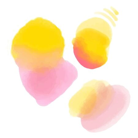 Pink and yellow watercolor texture, round wash and color mix. Pastel colors gradient. Vector backdrop.